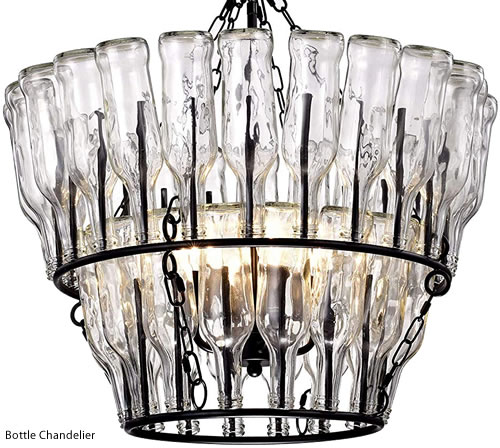 Two-Tier Bottle Chandelier has spikes to hold bottles - Wine Bottle Chandeliers – myDesign42