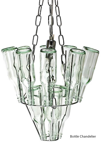 Leitmotiv Mini Glass Bottle Chandelier has spikes to hold bottles - Wine Bottle Chandeliers – myDesign42