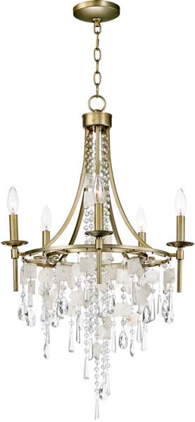 Maxim Lighting 14425CZGS Cebu Shell and Crystal Mini Chandelier - Capiz Chandeliers, Natural & Fresh