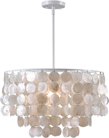 Kenroy Home 93409WH Shelley Capiz Shell Chandelier - Capiz Chandeliers, Natural & Fresh