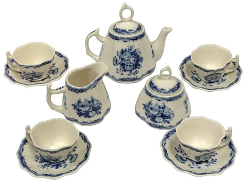 Blue Rose Botanical Floral Antique Reproduction Transferware Porcelain Tea Set from the Madison Bay Company