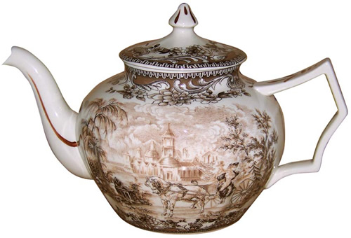 The teapot from the Brown and White Charleston or Carolina Pattern Antique Reproduction Transferware Porcelain Tea Set with Tray from the Madison Bay Company