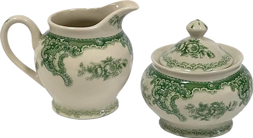 Cream Pitcher and Sugar Bowl from the Gondola Green Pattern Antique Reproduction Transferware Porcelain Tea Set with Tray from the Madison Bay Company