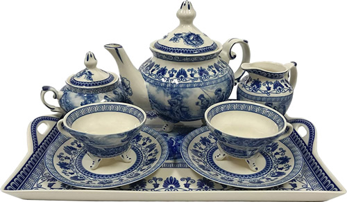 Liberty Blue Antique Reproduction Transferware Porcelain Tea Set with Tray from the Madison Bay Company