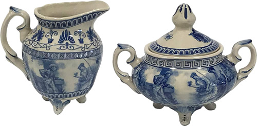 Liberty Blue Cream Pitcher and Sugar Bowl from the Madison Bay Company