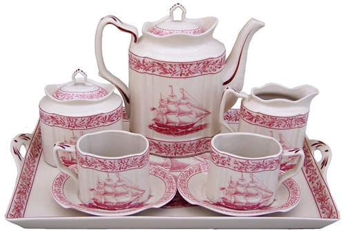 Red Nautical Rose Antique Reproduction Transferware Porcelain Tea Set with Tray from the Madison Bay Company