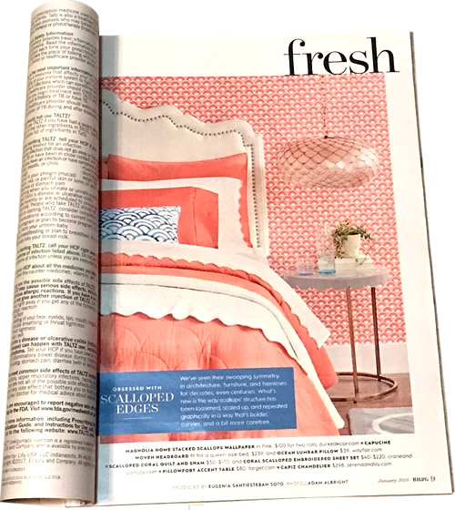 Better Homes & Gardens starts with the article Fresh: Obsessed with Scalloped Edges - Capiz Chandeliers, Natural & Fresh