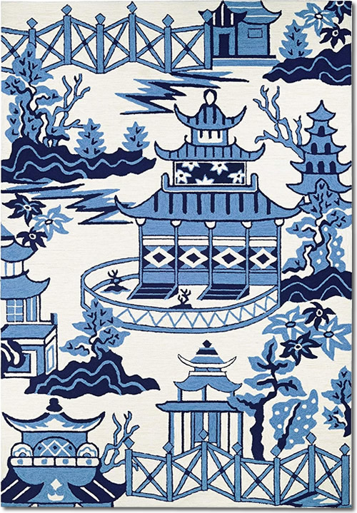 Hand-hooked Blue and Off-white Asian Motif Area Rugs - Indoor/Outdoor Blue Willow Pagoda Rugs from Dream Decor
