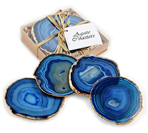 24k Gold Gilt-Edged Blue Agate Coasters - Enhance Your Home with Blue Agate –A Beautiful Natural(ish) Mineral – myDesign42