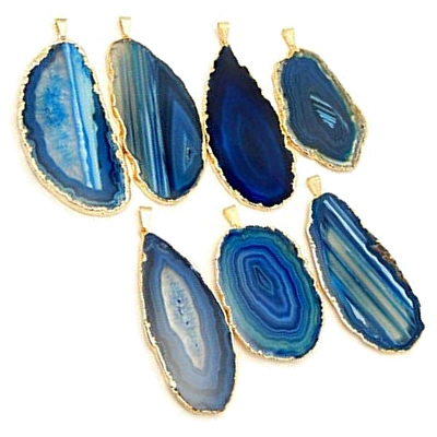 Agate Drops bound in gold could be used on a chandelier! - Enhance Your Home with Blue Agate –A Beautiful Natural(ish) Mineral – myDesign42