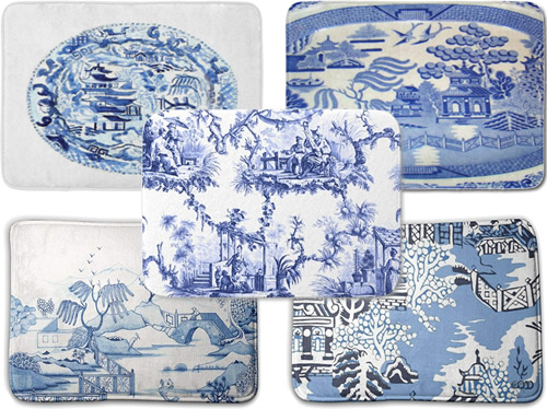Blue and White Chinoiserie and Blue Willow Memory Foam Mats - Blue and White Chinoiserie Memory Foam Mats