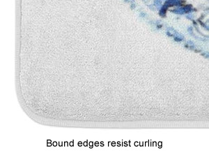Bound edges resist curling - Blue and White Chinoiserie Memory Foam Mats