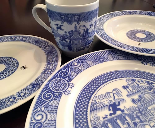 Set of CalamityWare Dishes - CalamityWare: Fun Twist on Blue Willow – myDesign42