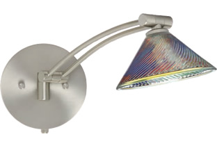 Besa 1WW-550493-SN Swing Arm Wall Sconces with Iridescent Dicro Swirl Glass - Besa Lighting with Iridescent Dicro Swirl Glass