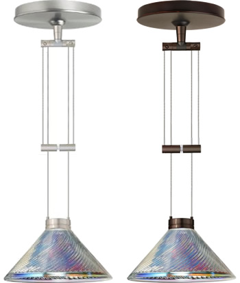 Besa 1XA-550493-SN Satin Nickel and 1XA-550493-BR Bronze Adjustable Mini Pendants with Iridescent Dicro Swirl Glass - Besa Lighting with Iridescent Dicro Swirl Glass