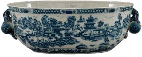 Antique looking foot bath with Blue Willow Scene - Oval Blue Willow Porcelain Flower Pots - my Design42