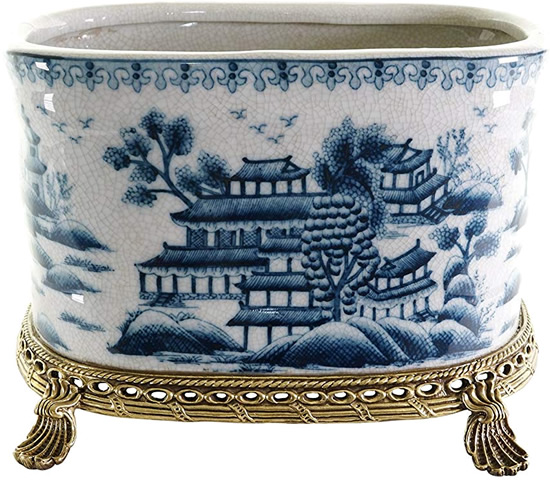 Blue Willow Long Oval Planter with Brass Footed Stand - Oval Blue Willow Porcelain Flower Pots - my Design42