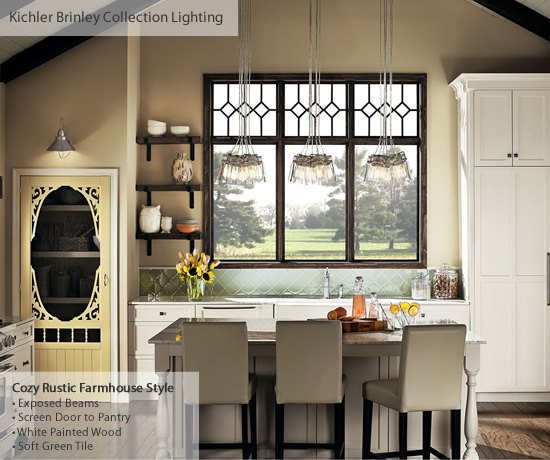 Cozy Rustic Farmhouse Kitchen with Brinley Pendants - Farmhouse Style Lighting from Kichler - My design42