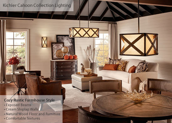Open Floor Plan Living Room and Dining Area incorporates Cozy Rustic Farmhouse elements with a wall sconce, rectangular pendant and square pendant from the Cahoon Collection from Kichler Lighting - Farmhouse Style Lighting from Kichler - My design42