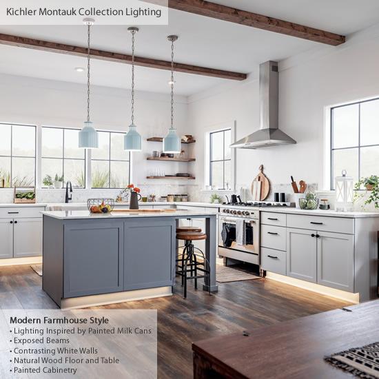 Modern Farmhouse Kitchen with Kichler Montauk Pendants over the island - Farmhouse Style Lighting from Kichler - My design42