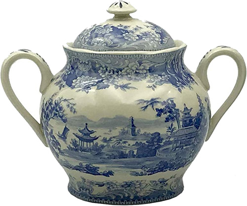 Pagoda Blue and White Sugar Bowl