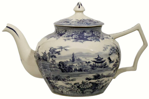 Pagoda Blue and White Tea Pot
