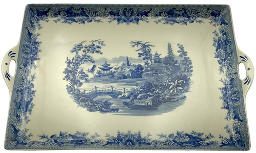 The tray from the Pagoda Blue and White Tea Set from the Madison Bay Company