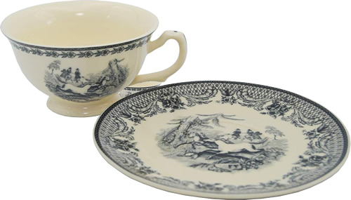 Equestrian Black Scene on White Porcelain Tea Cup and Saucer from the Madison Bay Company