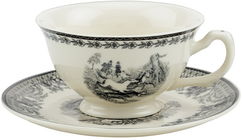 Equestrian Black and White Tea Cup and Saucer from the Madison Bay Company