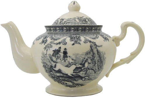 Equestrian Black on White Teapot from the Madison Bay Company