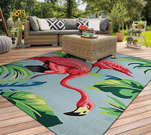 Pink Flamingoes Dream Decor Rugs of Miami - Kitschy Tropical Splendor - 1950s Flamingoes