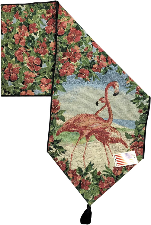 Flamingo Table Runner - Kitschy Tropical Splendor - 1950s Flamingoes