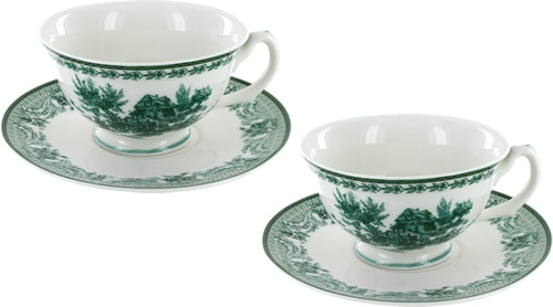 Green Toile Tea Cups and Saucers