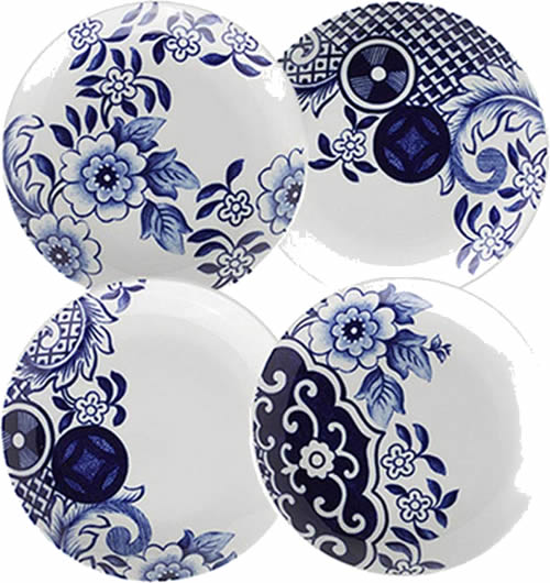"These side dish plates are almost 6"" wide. They have elements from the Blue Willow pattern outside border. - Loveramics Willow Love Story Pattern Dishes - My design42"