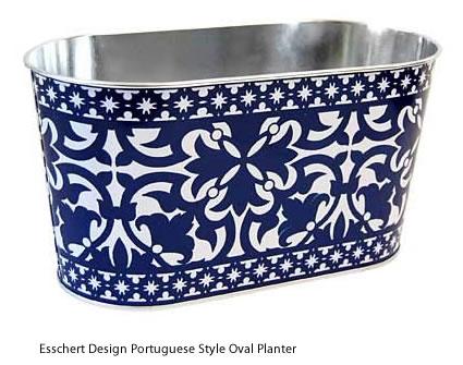 Esschert Design Portuguese Style Oval Metal Planter