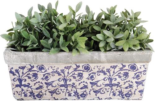 Esschert Design USA Blue & White Ceramic Balcony Planter