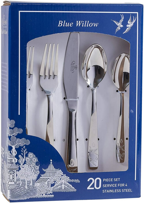 Churchill Blue Willow 20 Piece Stainless Steel Cutlery Set