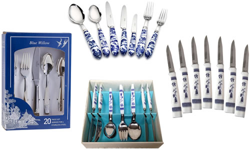 Blue Willow Silverware and Steak Knives