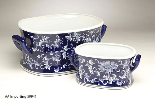Oval Blue Willow Porcelain Flower Pots