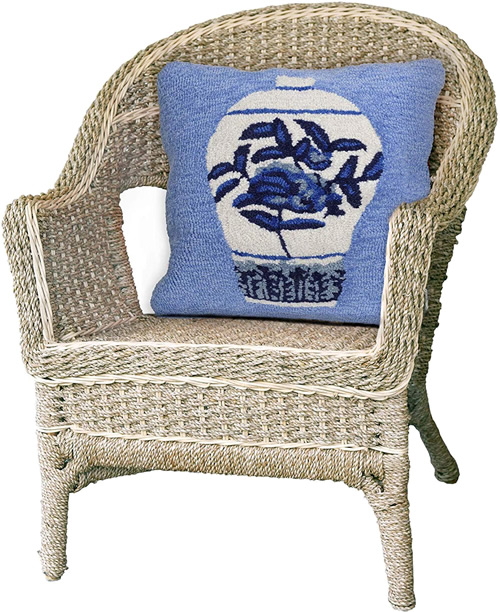 Liora Manne's Ginger Jars Blue Pillow