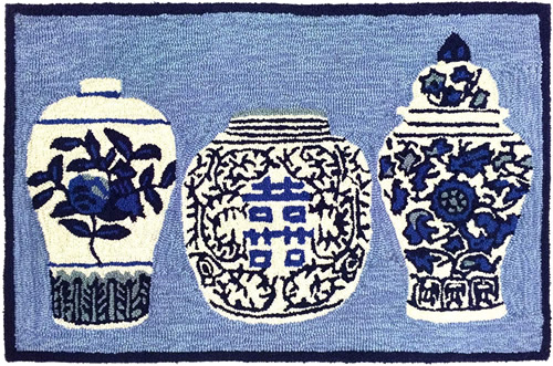 """Liora Manne's Ginger Jars Blue Mat, available in 20"""" x 30"""" or 2.5 x 4'"""