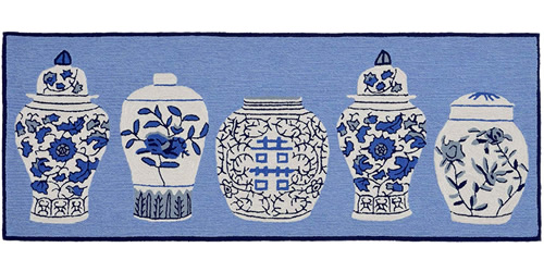 """Liora Manne's Ginger Jars Blue 24"""" x 60"""" or 27"""" x 72"""" Double Mat"""