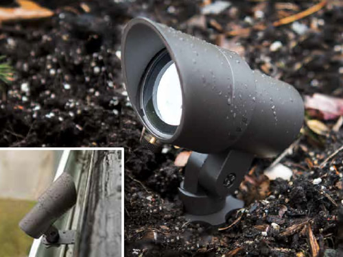 WAC Lighting Accent LED Landscape Lights have an adjustable beam angle and brightness control Inset shows gutter mount accessory