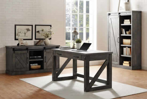 Office with Rustic Gray Credenza, Writing Table Desk and Bookcase with Sliding Barn Door