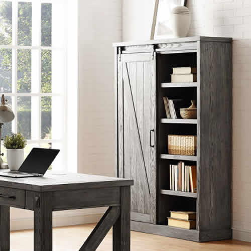 Martin Furniture Avondale Bookcase with Sliding Barn Door IMAE4872G