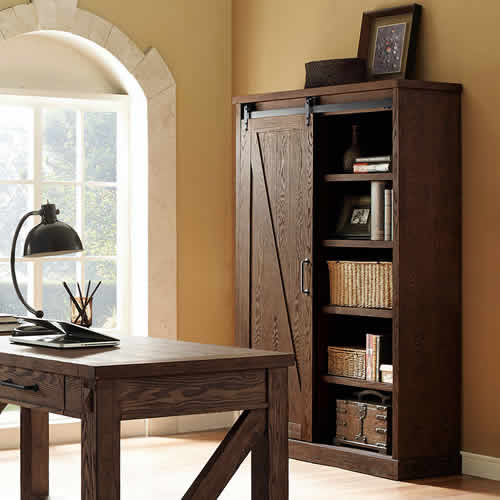 Martin Furniture Avondale Bookcase with Sliding Barn Door IMAE4872