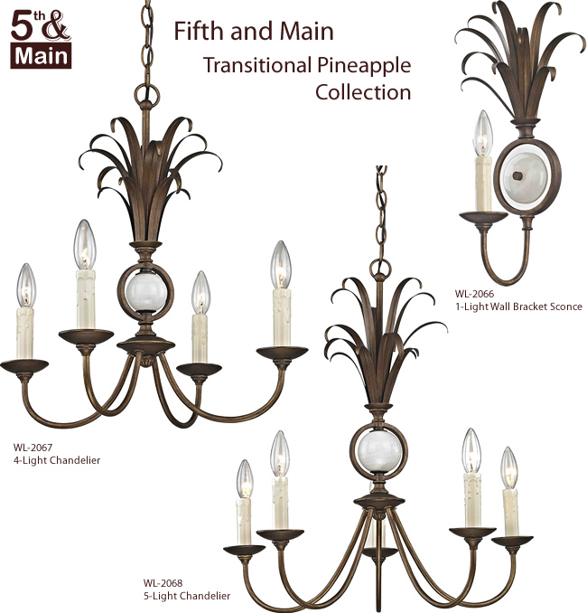Fifth and Main Transitional Pineapple Chandeliers