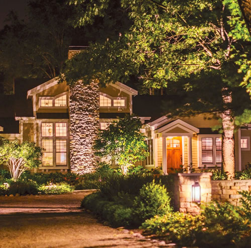 Kichler Landscape Accent Lighting creates scenes mimicking the natural affects of moonlight within trees or highlights architectural feature of your property