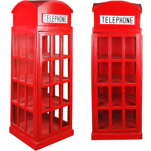 Red British Phone Booth Display Cabinet