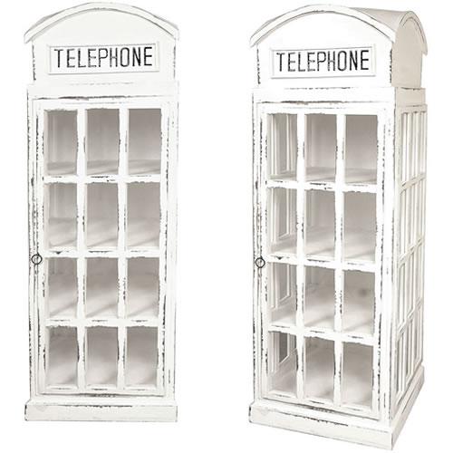 White British Phone Booth Display Cabinet